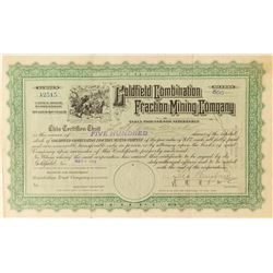Goldfield Combination Fraction Mining Co. Stock Certificate Signed by Wingfield