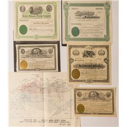Goldfield Mining Stock Certificates and Mining District Map