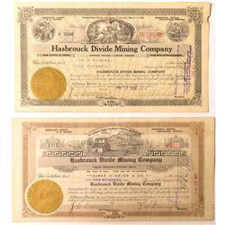 Two Different Hasbrouck Divide Mining Co. Stock Certificates, Goldfield, Nevada