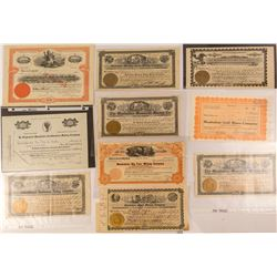 Ten Manhattan, Nevada Mining Stock Certificates