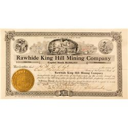 Rawhide King Hill Mining Co. Stock Certificate, 1908