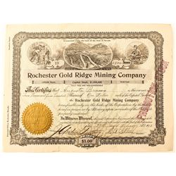 Rochester Gold Ridge Mining Co. Stock Certificate, 1913