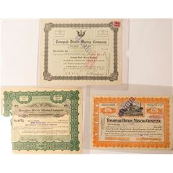 Three Tonopah Mining Stock Certificates incl. Brougher Signature
