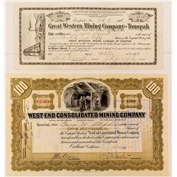 West End Consolidated Mining Co. Stock Certificate signed by Borax Smith Plus One Extra