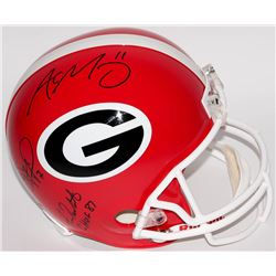 Fran Tarkenton, Aaron Murray  Matthew Stafford Multi-Signed Georgia Bulldogs Full-Size Helmet Inscri