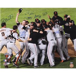 Giants 2010 World Series Champs 16x20 Photo Signed by (7) With Bruce Bochy, Pat Burrell, Aubrey Huff