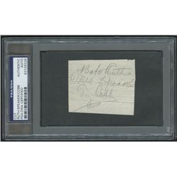 Babe Ruth, Tris Speaker  Ty Cobb Signed 2x3 Cut (PSA Encapsulated)