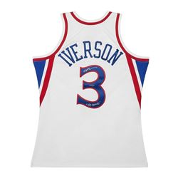 "Allen Iverson Signed Mitchell  Ness 1996-97 White 76ers Jersey Inscribed ""The Answer"" (UDA COA)"