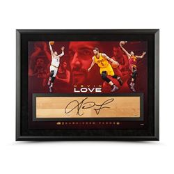 "Kevin Love Signed Cavaliers ""Power Forward"" 36x24 Custom Framed NBA Game-Used Floor Display LE 50"