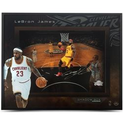 "LeBron James Signed Cavaliers ""Lift Off"" 20x16x2 Custom Framed Shadow Box (UDA COA)"