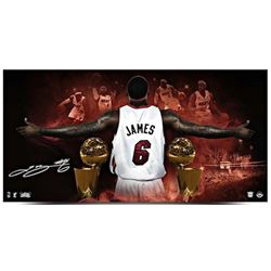 "LeBron James Signed Heat ""2013 NBA Finals"" LE 18x36 Photo (UDA COA)"