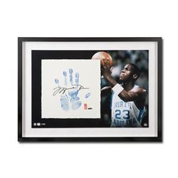 Michael Jordan Signed UNC Tarheels LE 20x28 Custom Framed Tegata Display (UDA COA)