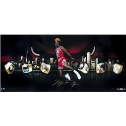 "Michael Jordan Signed LE Bulls ""City Of Rings"" 15x30 Photo (UDA COA)"