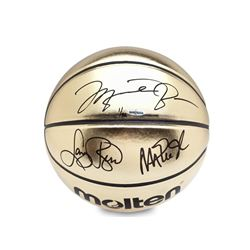 Michael Jordan, Magic Johnson  Larry Bird Signed Molten Gold Trophy LE Basketball (UDA COA)
