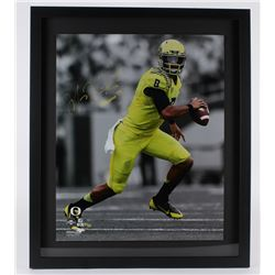"Marcus Mariota Signed LE Oregon Ducks 26x30 Custom Framed Photo Inscribed ""Heisman '14"" (Steiner Hol"