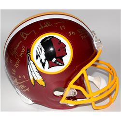 Mark Rypien, Joe Theismann  Doug Williams Signed  Inscribed Redskins Full-Size Helmet (JSA COA)