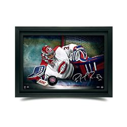 "Patrick Roy Signed Canadiens ""Save"" 16x24 Custom Framed Hockey Puck Break Through Display (UDA COA)"