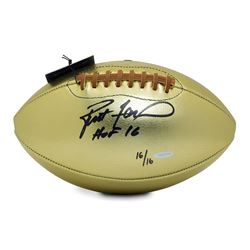 "Brett Favre Signed LE Gold Leather Football Inscribed ""HOF 16"" (UDA COA)"