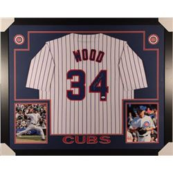 Kerry Wood Signed Cubs 35x43 Custom Framed Jersey (JSA COA)