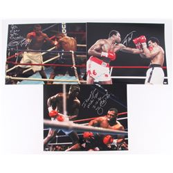 "Lot of (3) Signed Boxing 16x20 Photos with (1) James ""Buster"" Douglas, (1) Larry Holmes  (1) Roy Jon"