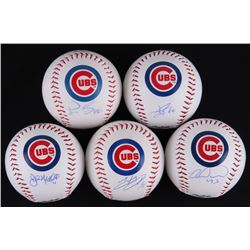 Lot of (5) Signed Chicago Cubs Logo Baseballs with (1) Miguel Montero, (1) John Mallee, (1) Pedro St