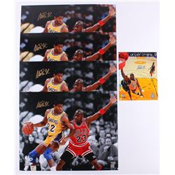 Lot of (5) Magic Johnson Signed Photos (Schwartz COA)
