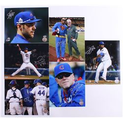 Lot of (6) Signed Cubs 8x10 Photos with (1) Chris Bosio, (1) John Mallee, (1) Pedro Strop, (1) Matt