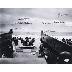 """D-Day"" Veterans 11x14 Photo Signed by (7) With Bud Anderson, Martin Fleisher, Peter Fantacone, Bob"