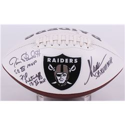 Marcus Allen, Fred Biletnikoff  Jim Plunkett Signed Raiders Logo Football with (3) Super Bowl MVP In