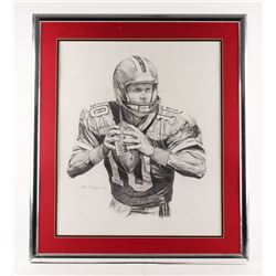"Steve Bartkowski 25.5""x29.5"" Custom Framed Drawing"