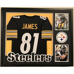 "Jesse James Signed Steelers 34"" x 42"" Custom Framed Jersey (JSA COA)"