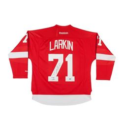 "Dylan Larkin Signed Red Wings Reebok Premier Jersey Inscribed ""1st Goal 10-9-15"" (UDA COA)"