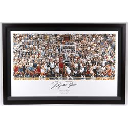 "Michael Jordan Signed Bulls 27x41 Custom Framed ""The Last Shot"" Display (UDA COA)"