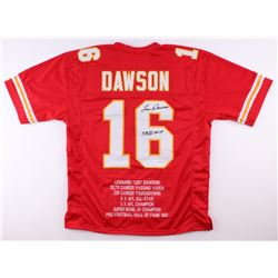 "Len Dawson Signed Chiefs Career Highlight Stat Jersey Inscribed ""SB IV MVP"" (JSA COA)"