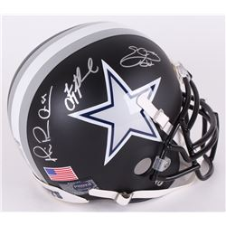 Michael Irvin, Troy Aikman,  Emmitt Smith Signed Cowboys Custom Matte Black Authentic Full-Size Helm