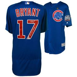 """Kris Bryant Signed Cubs Majestic Authentic 2016 World Series On-Field Jersey Inscribed """"2016 WS Cham"""