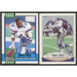 Lot of (2) Emmitt Smith Rookie Cards with 1990 Fleer Update #U40 RC  1990 Topps Traded #27T RC