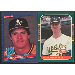 Lot of (2) Rookie Baseball Cards with 1986 Donruss #39 Jose Canseco RC  1987 Donruss Rookies #1 Mark