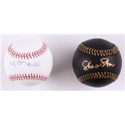 Lot of (2) Signed Baseballs with Ed O'Neill  Sharon Stone (Schwartz COA)
