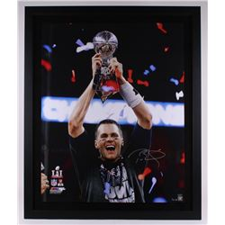 "Tom Brady Signed Limited Edition Patriots 2016 Super Bowl LI  39"" x 47.25"" Custom Framed Photo Displ"
