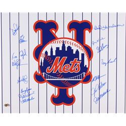Mets 16x20 Photo Signed by (15) with Wally Backman, Jack DiLauro, Sid Fernandez, Bud Harrelson, Ed H