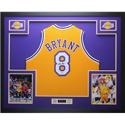 "Kobe Bryant Signed Lakers 35"" x 43"" Custom Framed Jersey (PSA COA)"