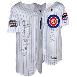 2016 Cubs World Series Champions Jersey Team-Signed by (9) with Kris Bryant, Anthony Rizzo, Jake Arr