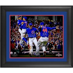 "2016 Cubs World Series Champions 20"" x 24"" LE Custom Framed Photo Team-Signed by (4) with Kris Bryan"