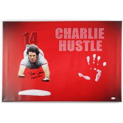"Pete Rose Signed Reds 20"" x 31"" Giclee on Gallery Stretched Canvas Inscribed ""Superman"" with Origina"