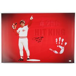 "Pete Rose Signed Reds 20"" x 31"" Giclee on Gallery Stretched Canvas Inscribed ""Hit King 4256"" with Or"