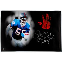 "Lawrence Taylor Signed Giants 20"" x 31"" Giclee on Gallery Stretched Canvas Inscribed ""I'm A Bad Moth"