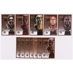 Lot of (12) Chiefs LE Bronze Bust Football Hall of Fame Postcards with (5) Unsigned Postcards,  (7)