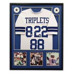 "Troy Aikman, Emmitt Smith,  Michael Irvin Signed Cowboys 34"" x 42"" Custom Framed ""Triplets"" Jersey ("