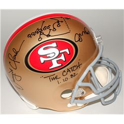 "Joe Montana  Dwight Clark Signed 49ers ""The Catch"" Full-Size Helmet with Hand-Drawn Play Inscribed """